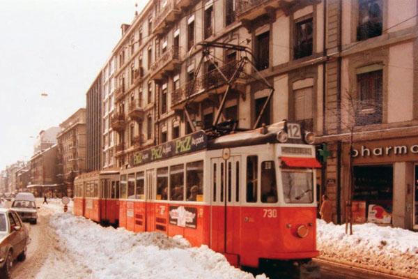 tram genève neige 1985